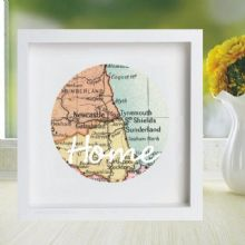 Vintage Map Framed Circle Displaying Your Chosen Location - Unique Wedding, Anniversary Gift, Housewarming, Bon Voyage Present